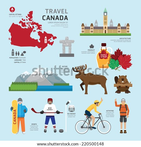 Travel Concept Canada Landmark Flat Icons Design .Vector Illustration - stock vector