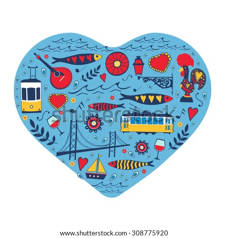Travel concept card. Illustration of love for Lisbon - heart with vector icons - stock vector