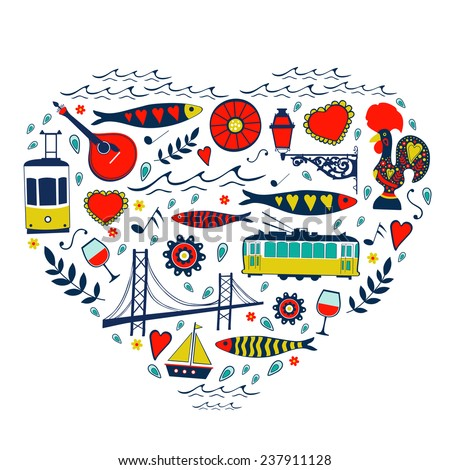 Travel concept card. Illustration of love for Lisbon - heart with vector icons. Vector illustration - stock vector