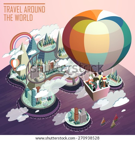 travel concept flat 3d isometric infographic with hot air balloon tourism - stock vector