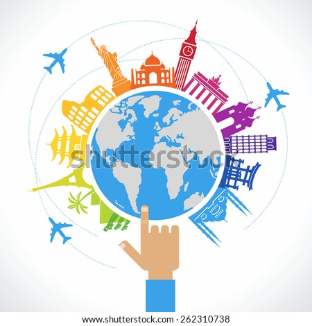 Travel concept. Flat design travel background. The hand of man shows a world map surrounded by icons of travel and landmarks - stock vector