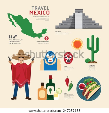 Travel Concept Mexico Landmark Flat Icons Design .Vector Illustration - stock vector