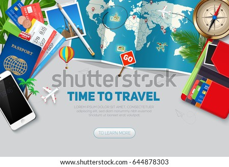 Travel concept, ready for Summer. Travel and tourism background. Top view. Concept website template.