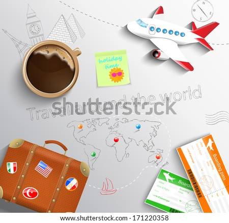 Travel concept. The plane, cup of coffee, baggage and tickets with the schematical image of the Eiffel Tower, Big Ben, the Egyptian pyramids and world maps. - stock vector
