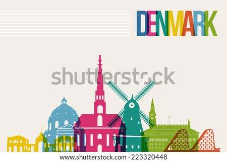 Travel Denmark famous landmarks skyline multicolored design background. Transparency vector organized in layers for easy create your own website, brochure or marketing campaign. - stock vector