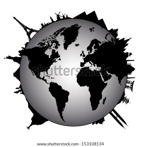 Travel design element with sights of different countries - stock vector