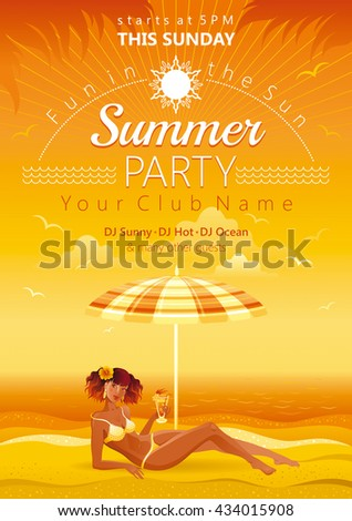 Travel design for beach party with sunset sea and tan beautiful tan girl lying under umbrella with tropical cocktail - stock vector
