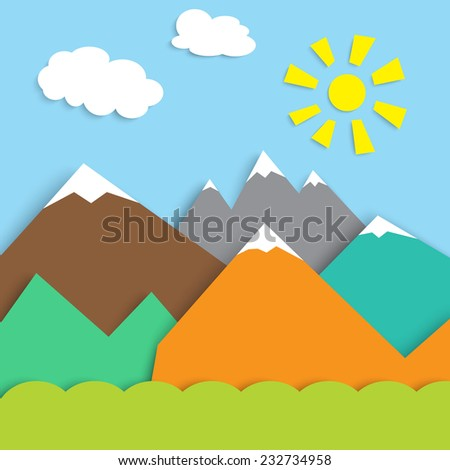 travel design - mountain landscape on blue sky and sun background, stylized vector illustration - stock vector