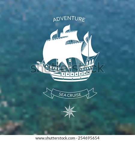 Travel design. Ocean backdrop.Logo, vector illustration. Editable. Blurred. - stock vector