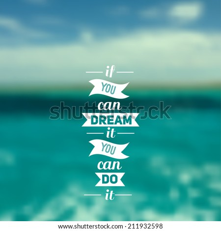 Travel design. Ocean backdrop. Vector. Editable. Blurred. Typography label Lettering, Typography quote. Logo - stock vector