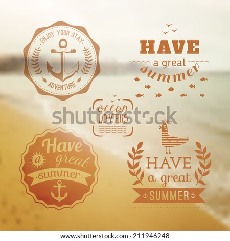 Travel design set of summer vacation logo. Ocean beach. Backdrop. Vector. Editable. Blurred. Typography label, Lettering, Typography quote. Logo - stock vector