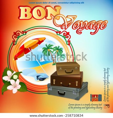 Travel design template; Exotic landscape in medallion; In season scene framed by artistic, ornamental border and bouquet of flowers;Suitcase ready to go; Seasoned coloring on backdrop. - stock vector