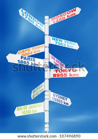 Travel direction road post signs - stock vector