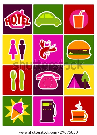 travel directory icons - stock vector