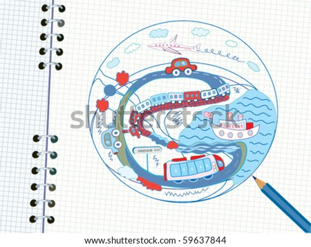 Travel doodle in the notebook - stock vector