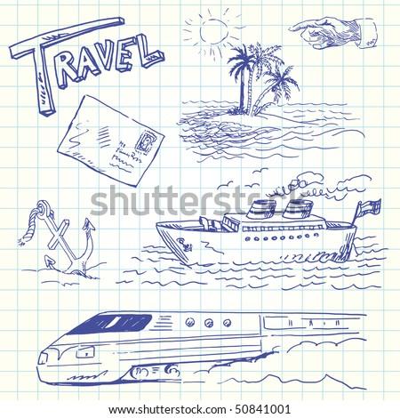 travel doodles - stock vector