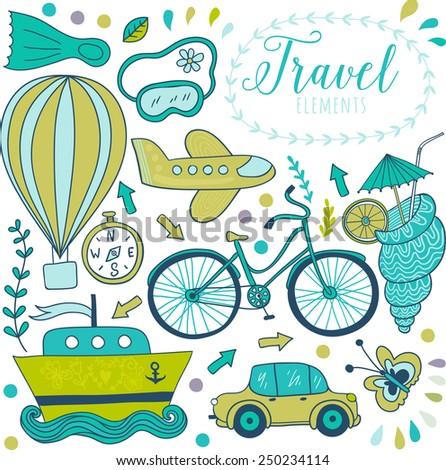 Travel doodles elements.  Vacation design, Bicycle, car, plane, flight.  Vector illustration - stock vector