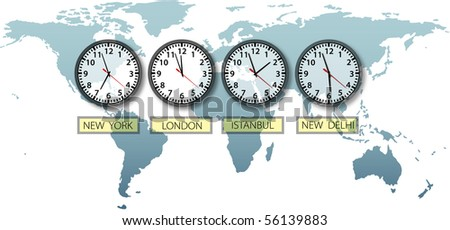 Travel Earth city time clocks on world map with space to crop and for copy. - stock vector