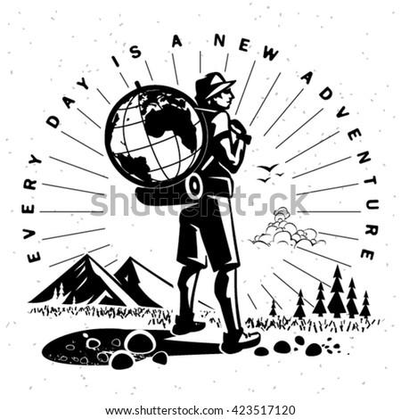 Travel emblem. Vector illustration  - stock vector
