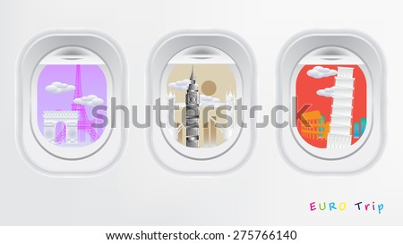 Travel Europe concept see through airplane windows with europe landmark eiffel, big ben, tower bridge, colosseum, tower of pisa, - stock vector