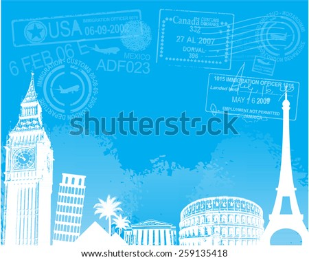 Travel europe landmarks background vector illustration - stock vector