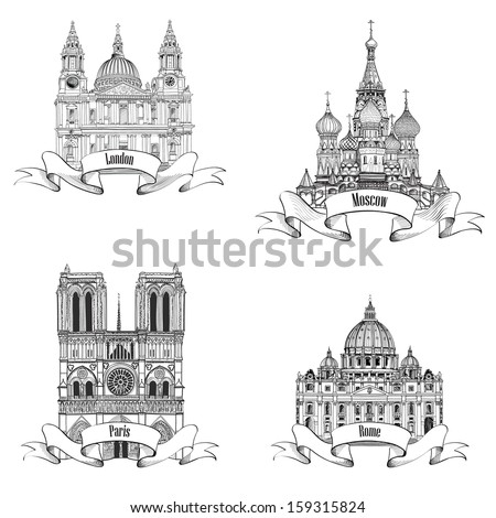 Travel Europe vector set. Famous european landmarks collection. City symbols: Paris (Notre Dame Cathedral), London (St Paul Cathedral), Rome (St. Peter Cathedral), Moscow  (St. Basil Cathedral) - stock vector