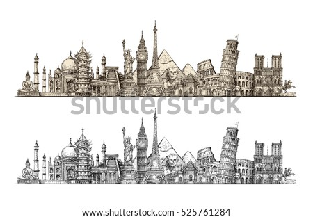 Travel. Famous monuments of world. Sketch vector illustration