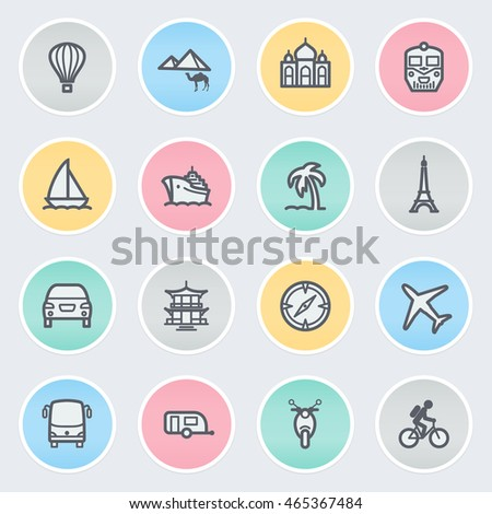 Travel flat contour icons on color stickers.