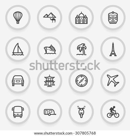 Travel flat contour icons on gray background. - stock vector