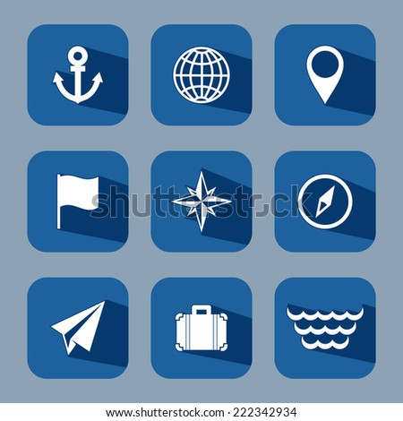 Travel flat icon set with long shadows - stock vector