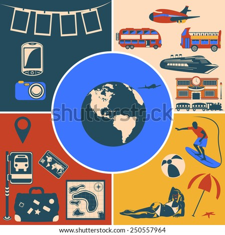 travel flat icons - stock vector