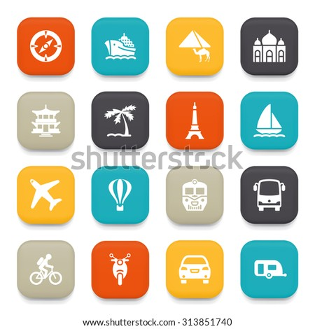 Travel flat icons with color buttons.