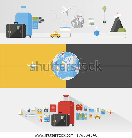 Travel / flat style backgrounds - stock vector