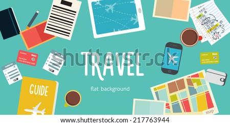 Travel flat vector background - stock vector