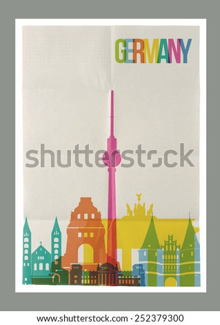 Travel Germany famous landmarks skyline on vintage paper sheet poster design background. Vector organized in layers for easy create your own postcard, brochure or marketing campaign. - stock vector