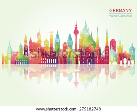 Travel Germany famous landmarks skyline. Vector illustration - stock vector