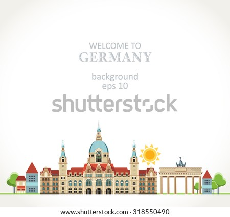 Travel Germany panorama background - stock vector