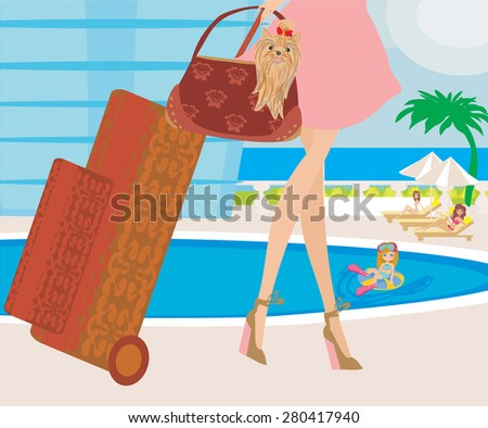 travel girl with baggage - stock vector