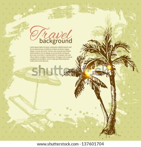 Travel hand drawn vintage tropical design. Splash blob retro background - stock vector