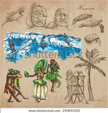 Travel, HAWAII, USA (no.8). Collection of an hand drawn vector illustrations. Freehand sketching. Each drawing comprise layers of lines. Colored background is isolated. Editable in layers and groups.