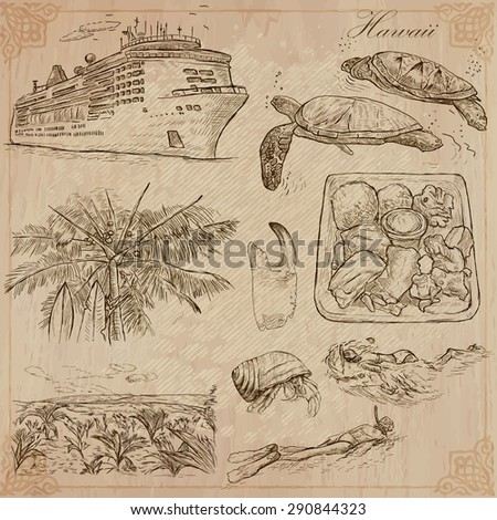 Travel: HAWAII, USA (no.3). Collection of an hand drawn vector illustrations. Freehand sketching. Each drawing comprise layers of lines. Colored background is isolated. Editable in layers and groups.