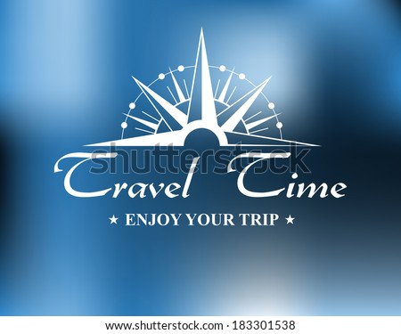 Travel header with vintage compass and text for tourism and journey design in retro style - stock vector