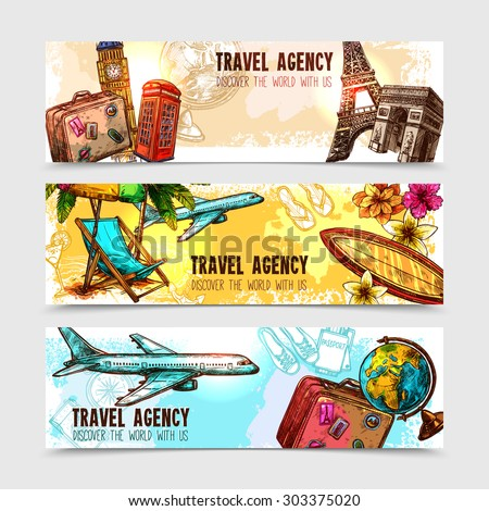 Travel horizontal banner set with sketch landmarks and vacation elements isolated vector illustration - stock vector