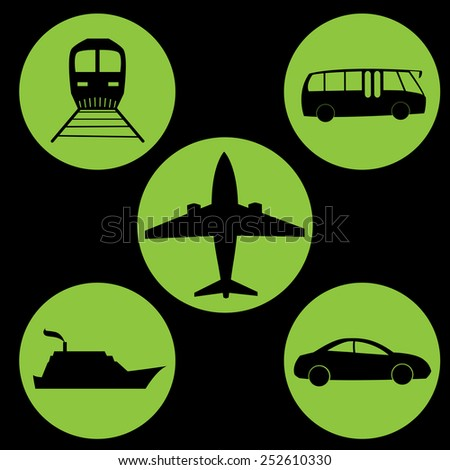 travel icon green circle black background - stock vector