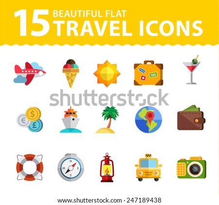Travel icon modern style flat - stock vector