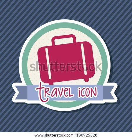 travel icon over label, suitcase. vector illustration - stock vector