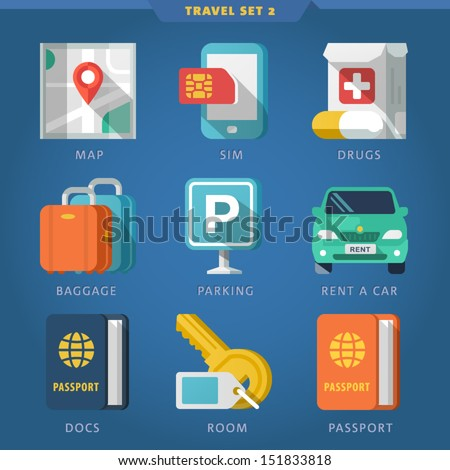 Travel icon set 2. - stock vector