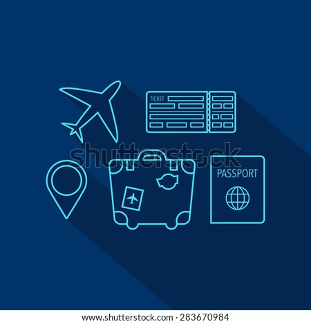 Travel icon set. Map pin, suitcase, passport, boarding pass ticket, plane. Flat style. Vector illustration - stock vector