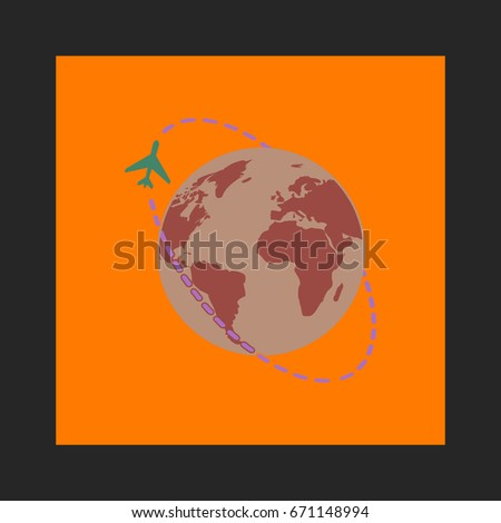 Travel Icon Vector. Flat simple pictogram on orange background. Illustration symbol color