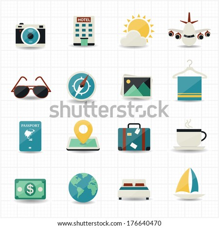 Travel icons and hotel icons with white background - stock vector
